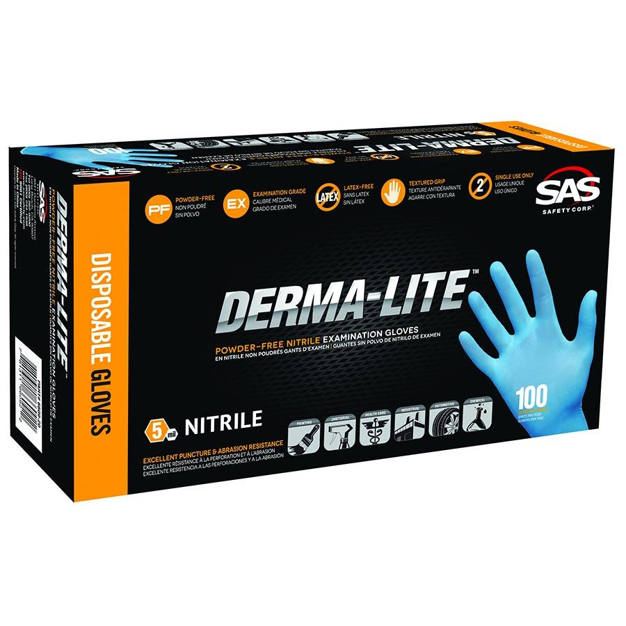 4 mil Thick Pack of 100 Black SAS Safety 66543 Derma-Pro Powder-Free Black Nitrile Disposable Glove Large