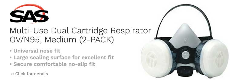 SAS Safety Multi-Use Dual Cartridge Respirator OV/N95, Medium (2-PACK)
